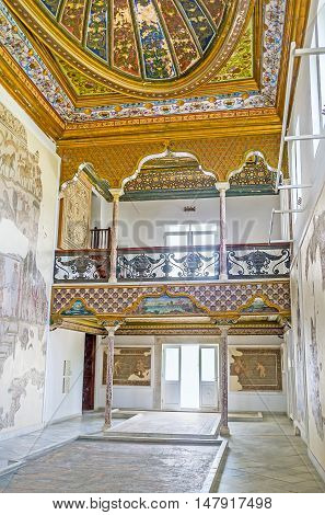 TUNIS TUNISIA - SEPTEMBER 2 2015: The Althiburos Room of Bardo National Museum preserved its interior since it belonged to the medieval Hafsid Palace on September 2 in Tunis.