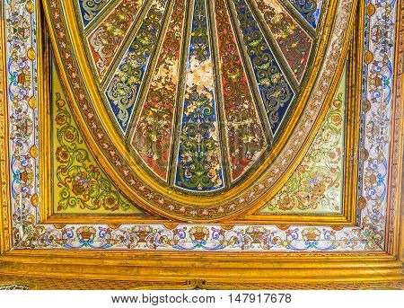 TUNIS TUNISIA - SEPTEMBER 2 2015: The painted and gilt details of ceiling decor of the Althiburos Room in Bardo National Museum on September 2 in Tunis.