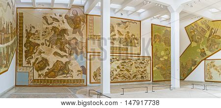 TUNIS TUNISIA - SEPTEMBER 2 2015: The Bardo National Museum boasts the impressive and unique collection of the ancient art on September 2 in Tunis.