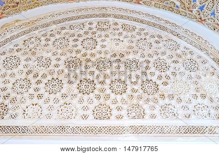 TUNIS TUNISIA - SEPTEMBER 2 2015: The Bardo National Museum occupies the medieval Hafsid Palace with preserved arabic interior decorations on September 2 in Tunis.