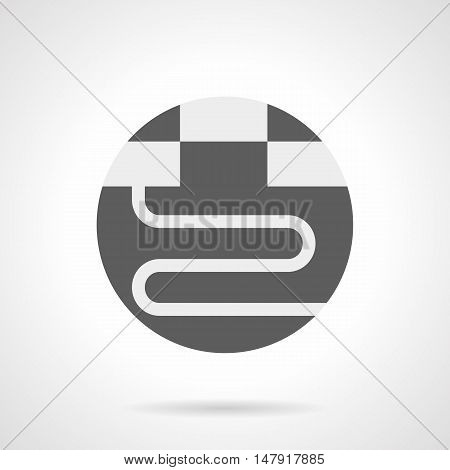 Abstract white silhouette sign of heated floor. Underfloor heating pipes under the parquet or tile. House improvement services. Gray round flat style vector icon.