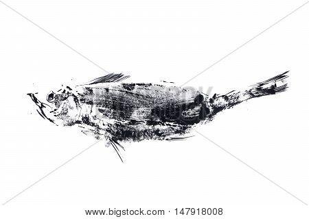 outline ink print on white ground, black fish stamp