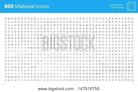 Material design pixel perfect icons set. Thin line icons for business, marketing, networking, UI and UX, finance and banking, navigation, mobile app, communication, action icons, management, seo.