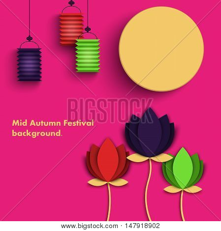 Mid Autumn Festival beautiful origami styled image on a pink background. The Full Moon Chines holyday, vector illustration
