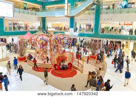 HONG KONG - CIRCA JANUARY, 2016: decorations at New Town Plaza shopping mall. New Town Plaza is a shopping mall in the town centre of Sha Tin in Hong Kong.