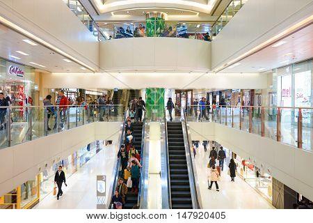HONG KONG - CIRCA JANUARY, 2016: inside of New Town Plaza shopping mall. New Town Plaza is a shopping mall in the town centre of Sha Tin in Hong Kong.