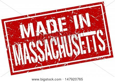 made in Massachusetts. Stamp. Square grunge sign