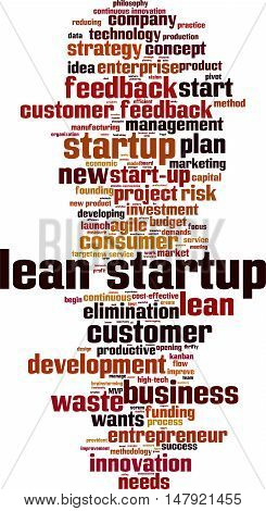 Lean startup word cloud concept. Vector illustration