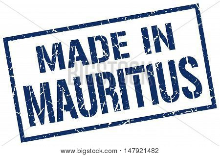 made in Mauritius. Stamp. Square grunge sign