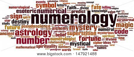Numerology word cloud concept. Vector illustration on white poster