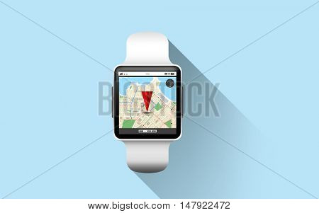 modern technology, object, application and navigation concept - close up of black smart watch with gps and road map on screen over blue background