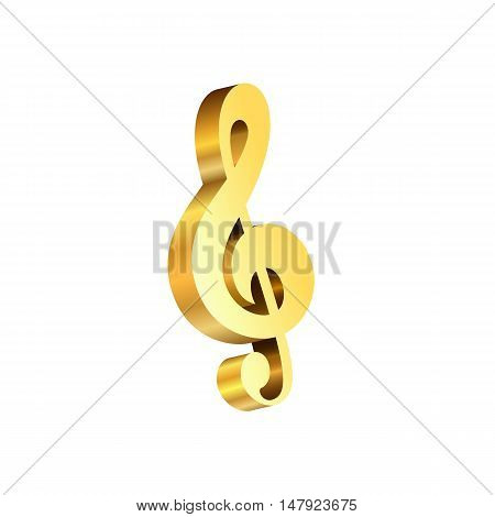 Vector gold treble clef 3D isolated on a white background