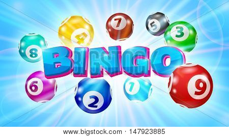 Vector Colorful Bingo. Lottery Number Balls. Colored balls isolated. Bingo ball. Bingo balls with numbers. Set of colored balls. Realistic vector. Lotto concept.