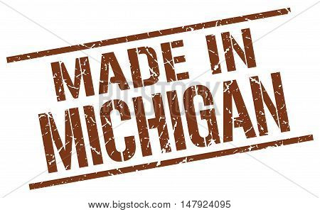 made in Michigan. Stamp. Square grunge sign
