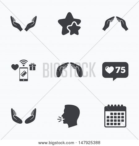 Hands icons. Insurance protection signs. Human helping donation hands. Prayer meditation hands sybmols. Flat talking head, calendar icons. Stars, like counter icons. Vector