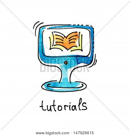 sketch watercolor icon of tutorials, distance education and online learning concept vector illustration