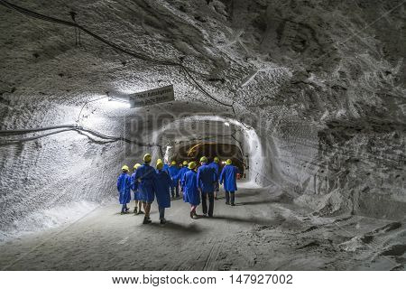SONDERSHAUSEN, GERMANY - SEP 18, 2016: people visit the mining plant Sondershausen in Germany. Reopened as a tourist mine in 1996 and reopened as a halite producing mine in 2006.