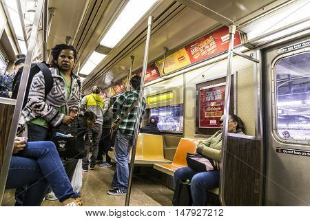 People Travel In The Subway In New York