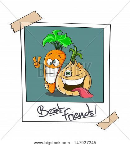 Instant photo of two best friends cartoon Carrot and Onion. Joyfull expressions. Ideal for soup - hand drawn stock vector