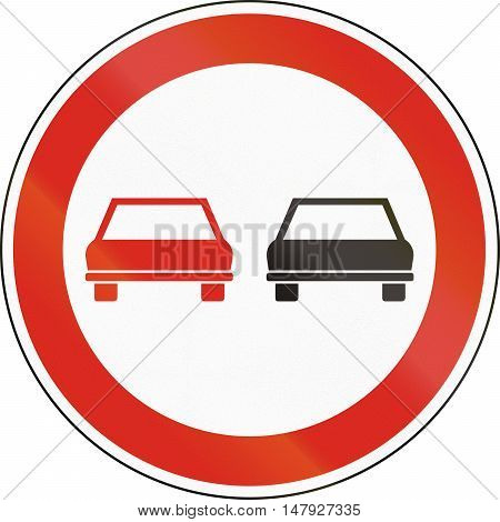 Hungarian Regulatory Road Sign - No Overtaking