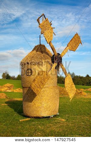 straw wind mill for harvest festival in autumn