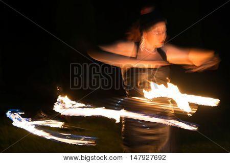 TIMISOARA, ROMANIA - SEPTEMBER 17, 2016: Public fire show organized in Timisoara Romania.Timisoara has been designated European Capital of Culture in 2021.
