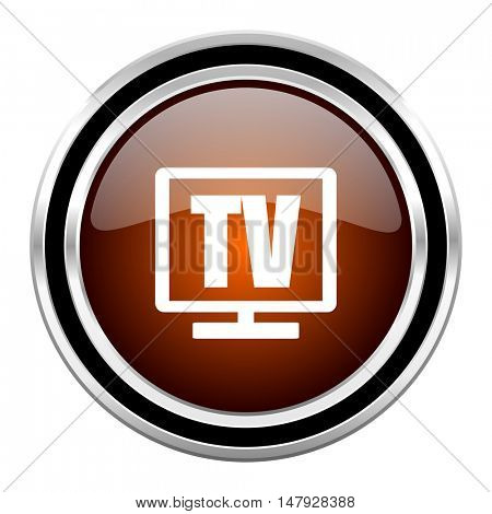 tv round circle glossy metallic chrome web icon isolated on white background