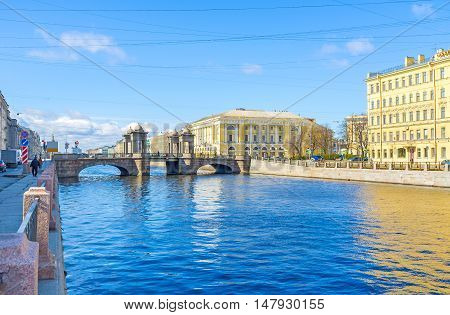 The Lomonosov Bridge across Fontanka River is the best preserved towered movable bridge typical for old St Petersburg Russia.