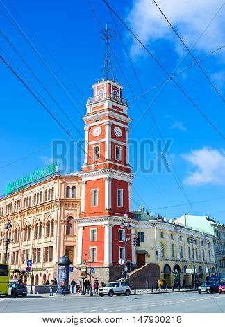 SAINT PETERSBURG RUSSIA - APRIL 25 2015: The tower of City Duma the historical city hall located on Nevsky Prospect on April 25 in Saint Petersburg.