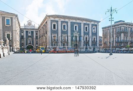 CATANIA ITALY - OCTOBER 10 2012: The Palace of the Seminary of the Clerics (Palazzo dei Chierici) located in Duomo Square is the fine example of Baroque architecture the main on October 10 in Catania.