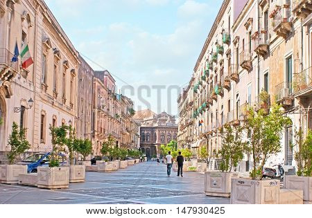 The Teatro Massimo street leads to the Massimo Bellini Opera House one of the most beautiful city landmarks Catania Sicily Italy.