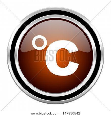 celsius round circle glossy metallic chrome web icon isolated on white background