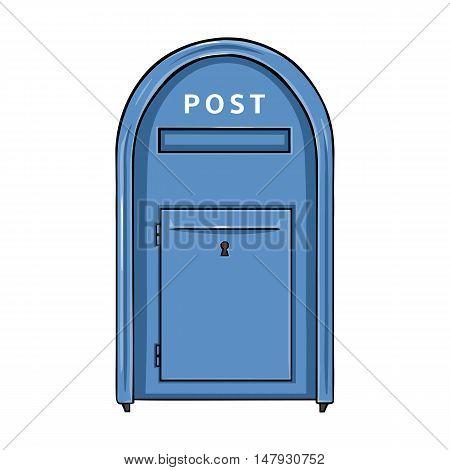 Vector Single Cartoon Blue Street Postbox.