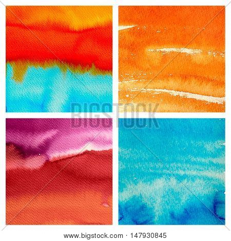 set of abstract hand drawn watercolor background, aquarelle texture patterns collection