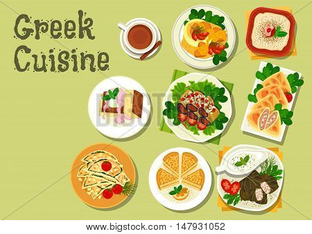 Greek cuisine lunch dishes icon with meat stew, garlic bread, stuffed grape leaf, tzatziki sauce, fish roe salad, eggplant roll, almond cake, beef and feta pie and honey cake with ice cream