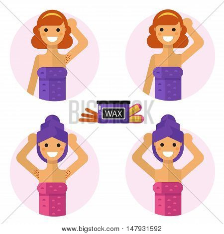 Flat design vector illustration of armpits depilation with waxing and wax strips. Smiling girls in towel are demonstrating results of of hair removal. Body care, health and beauty icons concept.