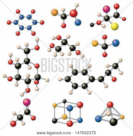 Set of colorful molecular structures in the form of sphere. Molecular structure microscopic technology, web design, geometric molecule. Organic element molecular structure evolution physics concept.