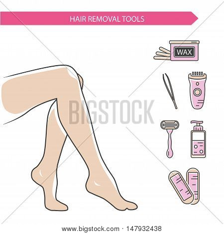 Vector line style illustration and icons of epilation, depilation. Beautiful female legs and different types of hair removal. Bottle of wax, wax strips, shaving razor, gel, eyebrow tweezers, epilator.