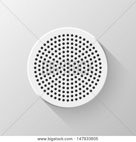 White abstract blank button template, circle geometric badge with technology perforated bevels and flat designed shadow for logo, design concepts, interfaces, web, apps. Vector illustration.