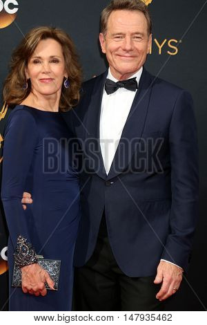 LOS ANGELES - SEP 18:  Bryan Cranston, Robin Dearden at the 2016 Primetime Emmy Awards - Arrivals at the Microsoft Theater on September 18, 2016 in Los Angeles, CA