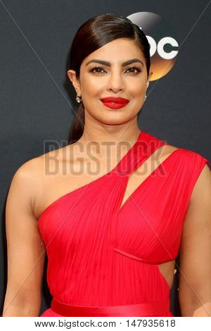 LOS ANGELES - SEP 18:  Priyanka Chopra at the 2016 Primetime Emmy Awards - Arrivals at the Microsoft Theater on September 18, 2016 in Los Angeles, CA