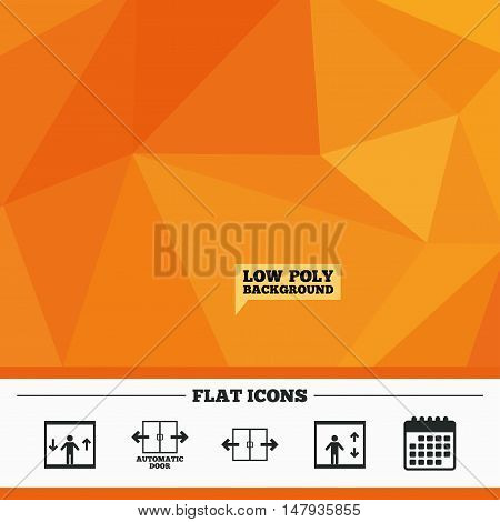 Triangular low poly orange background. Automatic door icons. Elevator symbols. Auto open. Person symbol with up and down arrows. Calendar flat icon. Vector