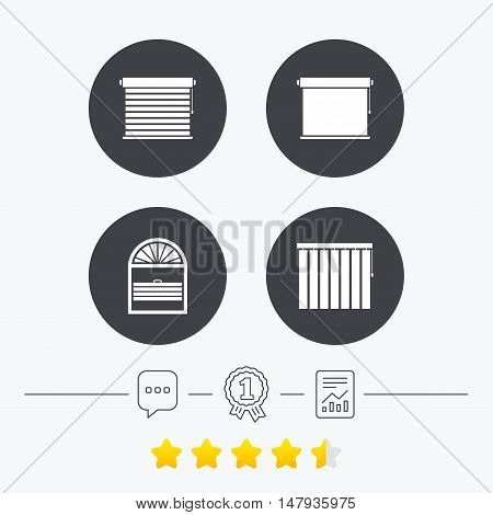 Louvers icons. Plisse, rolls, vertical and horizontal. Window blinds or jalousie symbols. Chat, award medal and report linear icons. Star vote ranking. Vector