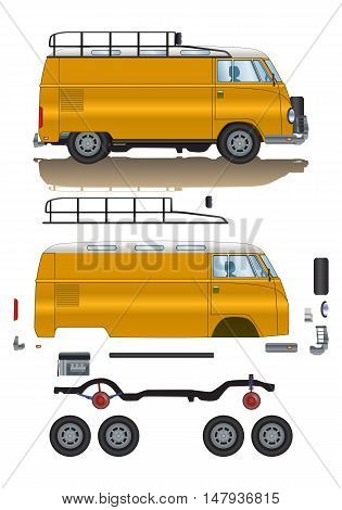 illustration of old classic van spare parts cartoon road vehicle type