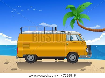 illustration of old mini van bus cartoon on beach