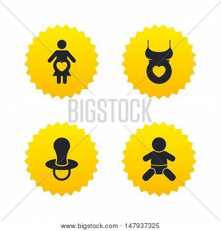 Maternity icons. Baby infant, pregnancy and dummy signs. Child pacifier symbols. Shirt with heart. Yellow stars labels with flat icons. Vector