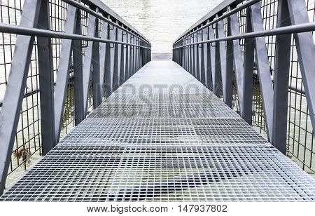 Bridge or pier built of steel structures.