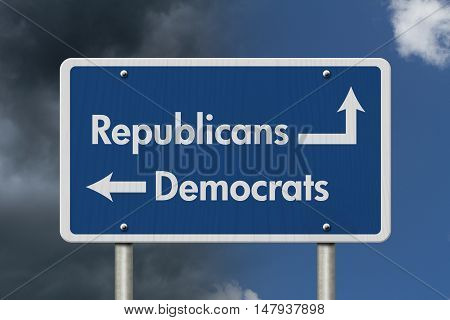 Difference between Republicans and Democrats Blue Road Sign with text Republicans and Democrats with bright and stormy sky background 3D Illustration