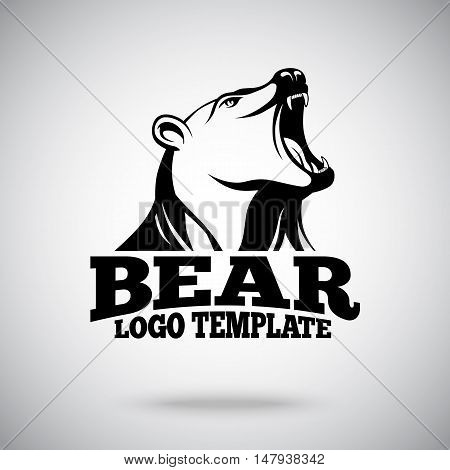 Vector logo template with Roaring Bear for sport teams, brands etc.