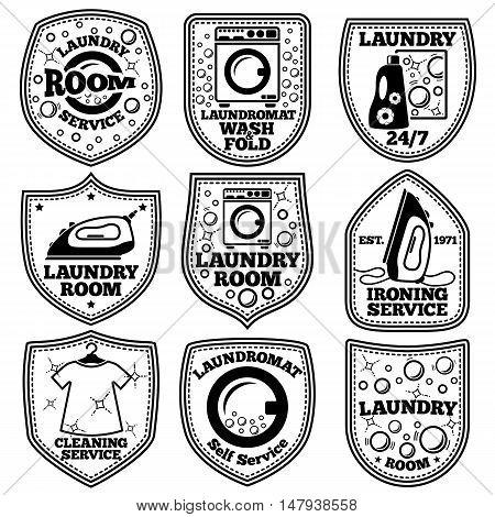 Vector Laundry labels set. With laundromat, iron, clothes, bubbles detergent etc